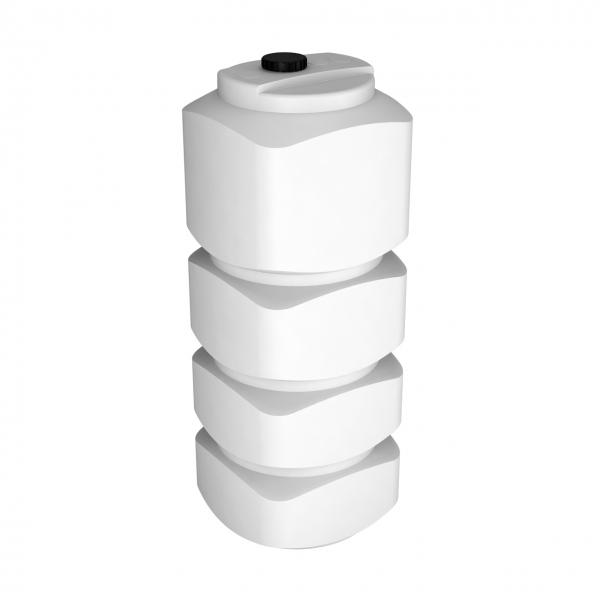 Пластиковая ёмкость белого цвета,объёмом тысячу литров,легко пройдёт в любой дверной проём,для питьевой,технической воды или пищевых продуктов дёшево в Москве.