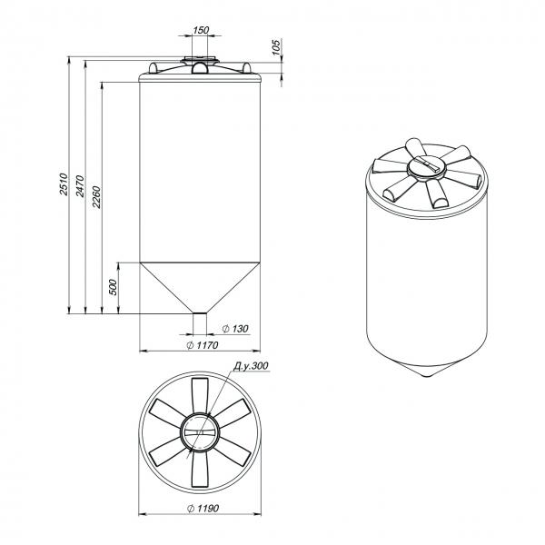 Пластиковая ёмкость(конусообразная)  с нижним сливом, что обеспечивает дозированную подачу, и при необходимости полный слив хранящейся жидкости по низкой цене в Москве