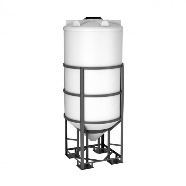 Пластиковая конусная ёмкость в обрешётке полностью сольёт всю продукцию или воду объёмом две тонны(две тысячи литров)по самой выгодной цене в Москве.