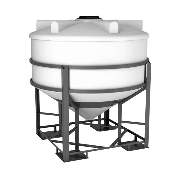 Ёмкость пластиковая конуснообразная в обрешётке объёмом три тысячи литров,пищевой пластик идеально подойдёт для пищевого производства или сыпучих смесей.