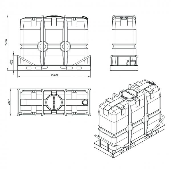пластиковая ёмкость в металлической обрешётке объёмом две тонны(две тысячи литров)для питьевой воды или дизельного топлива по самой выгодной цене в Москве.