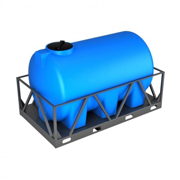Пластиковая ёмкость в металлической обрешётке объёмом три тысячи литров,подходит для дизельного топлива или питьевой воды,с сертификатом соответствия в Москве.