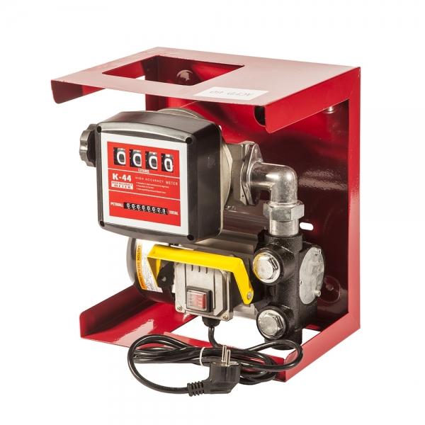Заправочный комплект для перекачки дизельного топлива на двести двадцать вольт,счётчик топливный четырёх разрядный,насос производительностью шестьдесят литров в минуту.